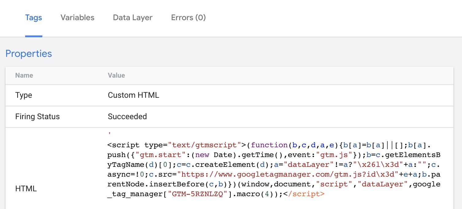 "Screenshot 2020 09 16 at 07.57.04 | Google Tag Manager : Utiliser une variable dans le ""custom html"""
