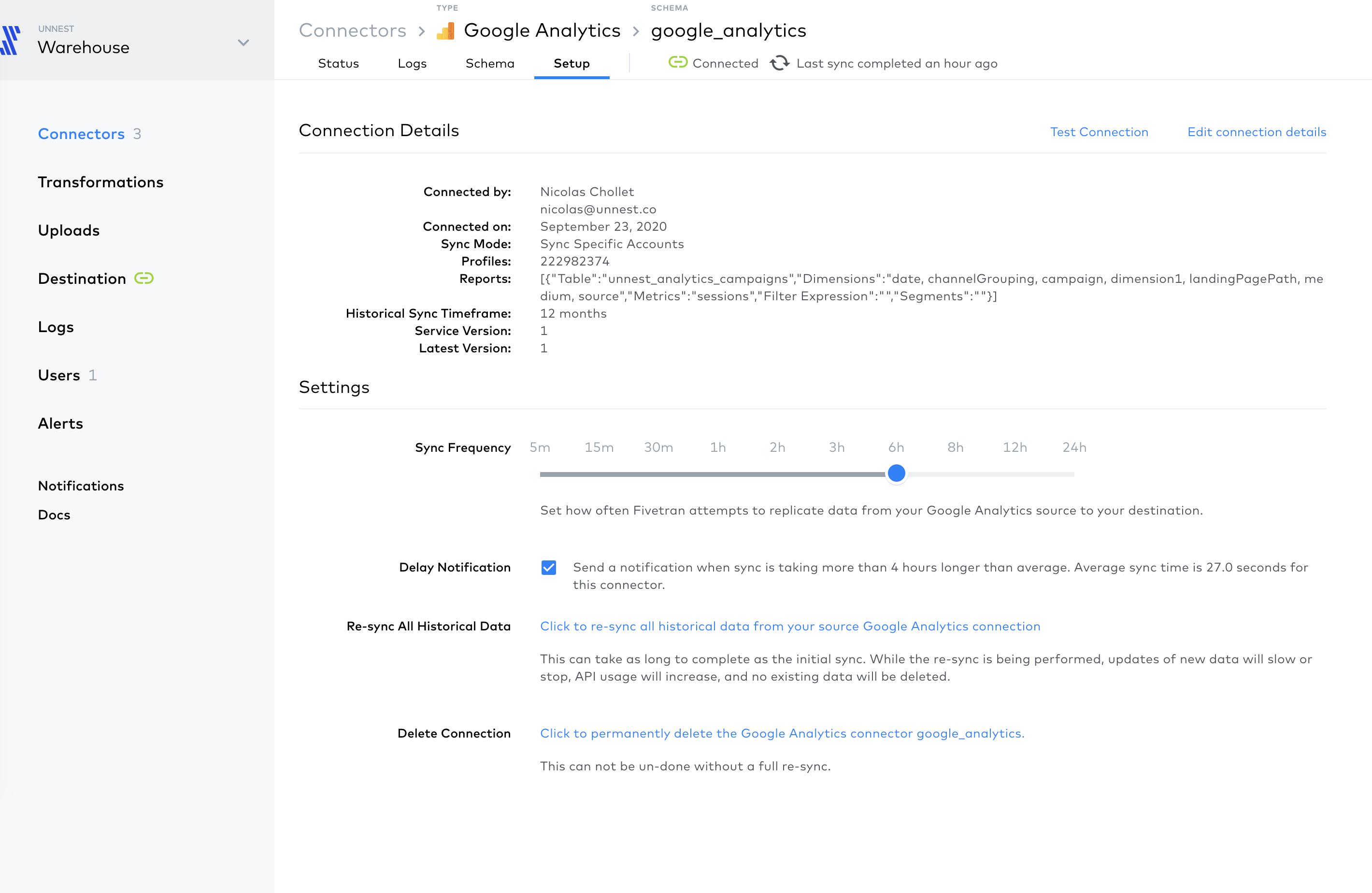 Screenshot 2020 10 06 at 14.51.29   Importer les données de Google Analytics vers BigQuery avec Fivetran
