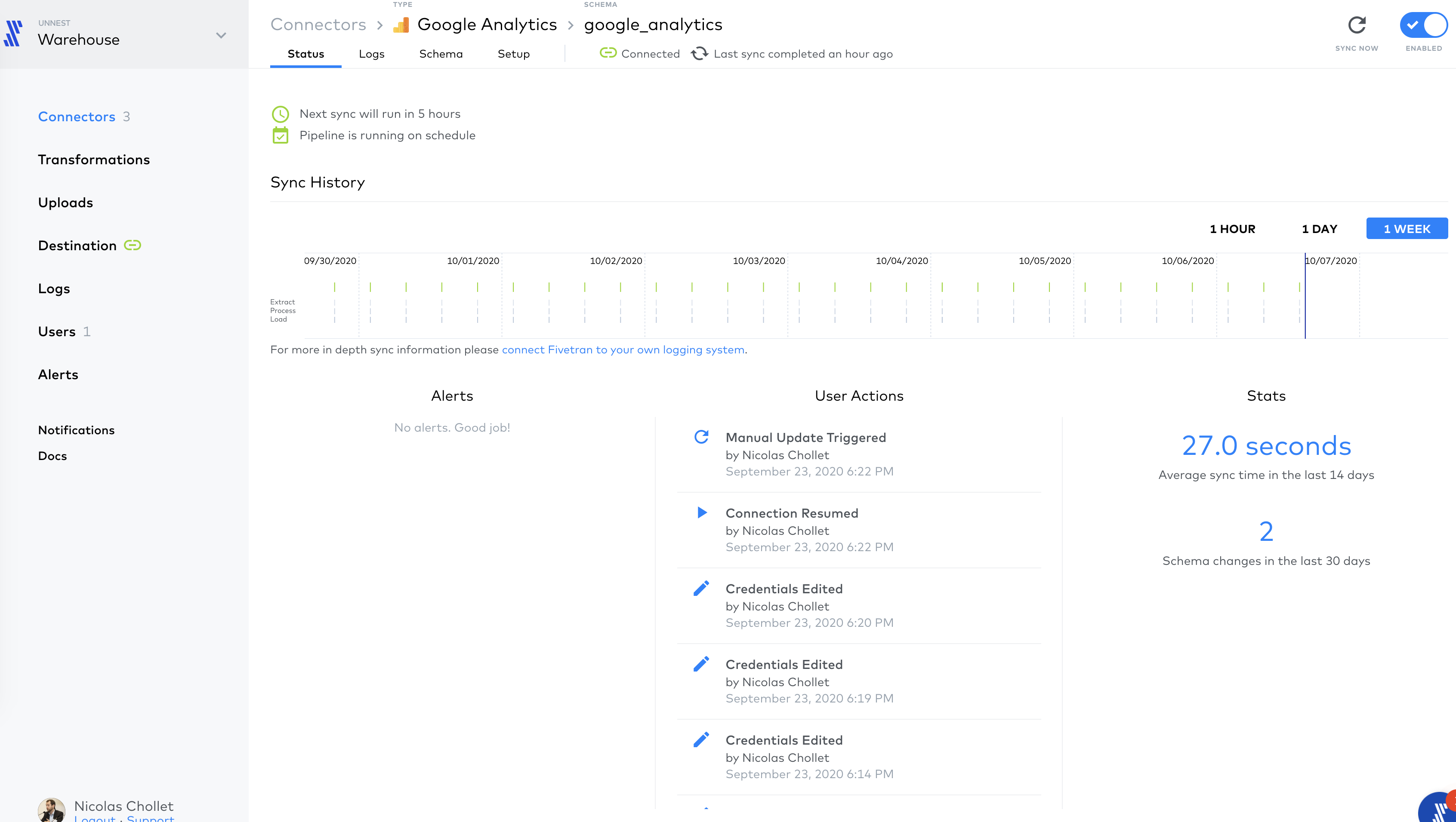 Screenshot 2020 10 06 at 14.52.41   Importer les données de Google Analytics vers BigQuery avec Fivetran