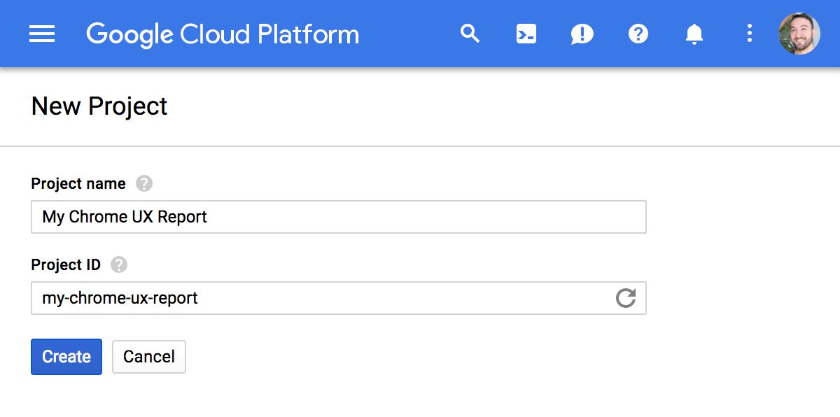 gcp project   Chrome User Experience Report : explorer les données dans Big Query